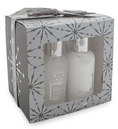 BRUBAKER 3 Pcs Gift Set 'Vanilla' Beauty Spa Set Silver Shower Gel, Body Lotion, Sponge