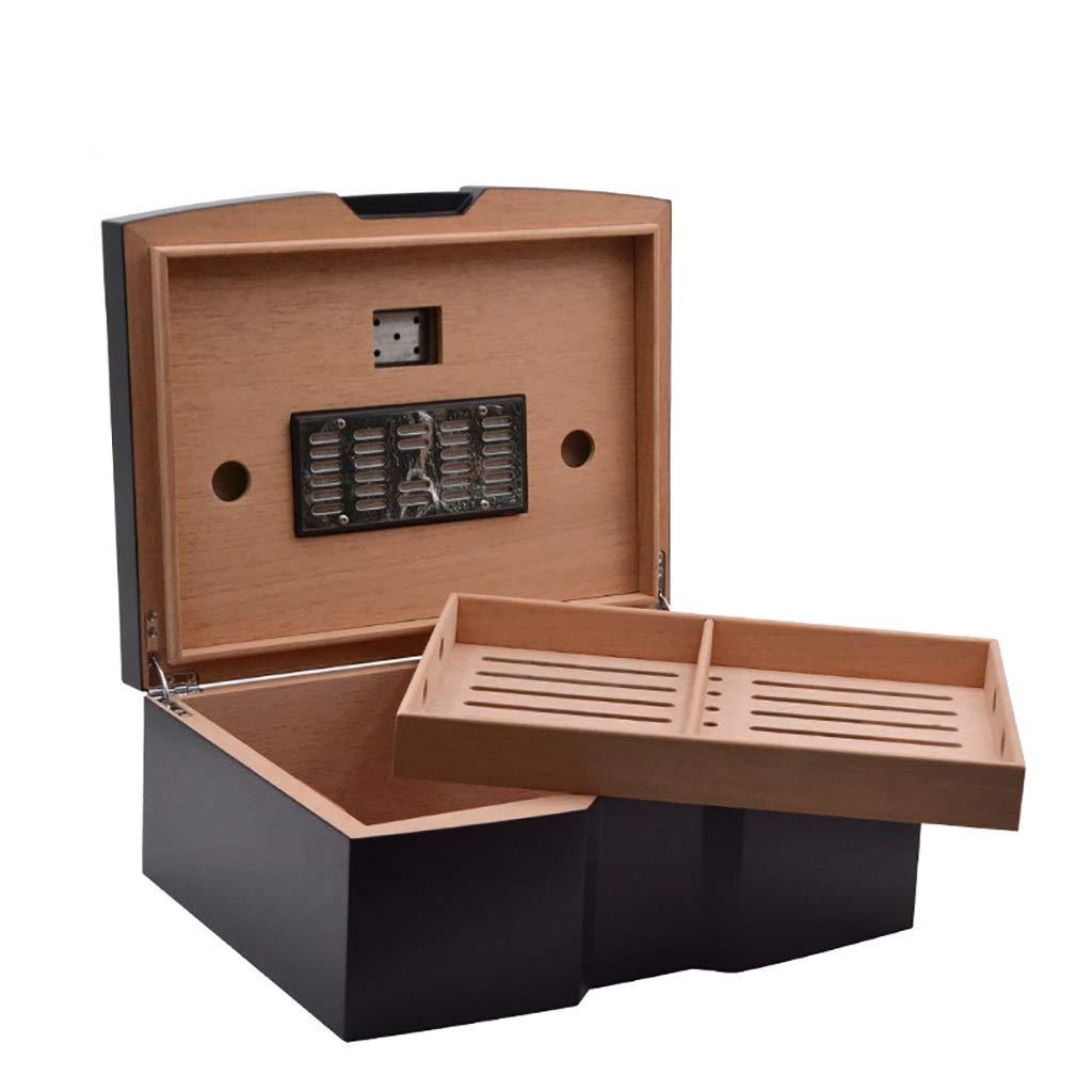 Lxc Curved U-Shaped Design Pure Black Matte Retro Cedar Wood Visualization Hygrometer Cigar Box
