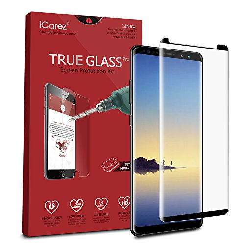 iCarez [Full Coverage Black Glass ] Screen Protector for Samsung Galaxy Note 8 (Case Friendly) Highest Quality Easy Install [ 2-Pack 0.33MM 9H 2.5D] with Lifetime Replacement Warranty