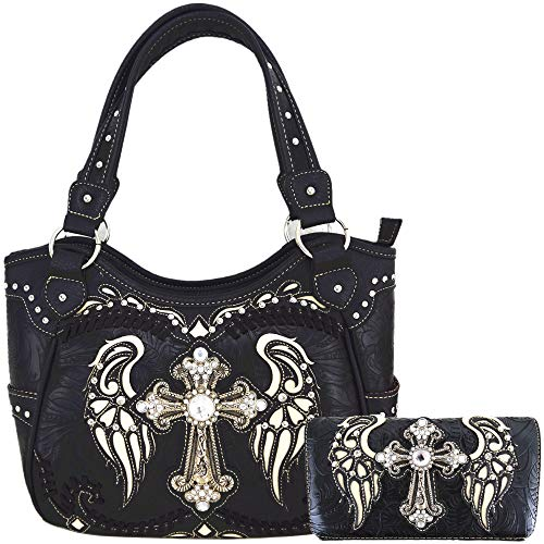 Western Style Cross Laser Cut Wings Purse Concealed Carry Handbags Women Country Shoulder Bag Wallet Set (#4 Black Set)