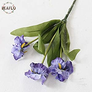 ShineBear 1PC 3 Heads Mini Iris Artificial Flowers Party Floristry for Wedding Home Decorative - (Color: Blue) 89