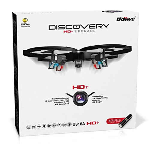 "Force1 Drones with Camera – ""UDI U818A Discovery"" Camera Drone with 720p HD RC Quadcopter Drone Camera w/ Micro SD Card + Power Bank and Bonus Battery (Certified Refurbished)"