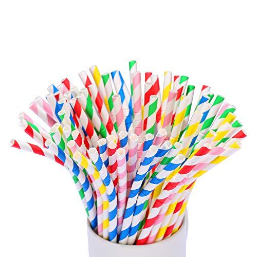 KKMO Bendable Flexible Stripe Paper Straws Biodegradable Drinking Mason Jar Cup Yeti Straw for Party Birthday Wedding Bridal Baby Shower Hawaii]()