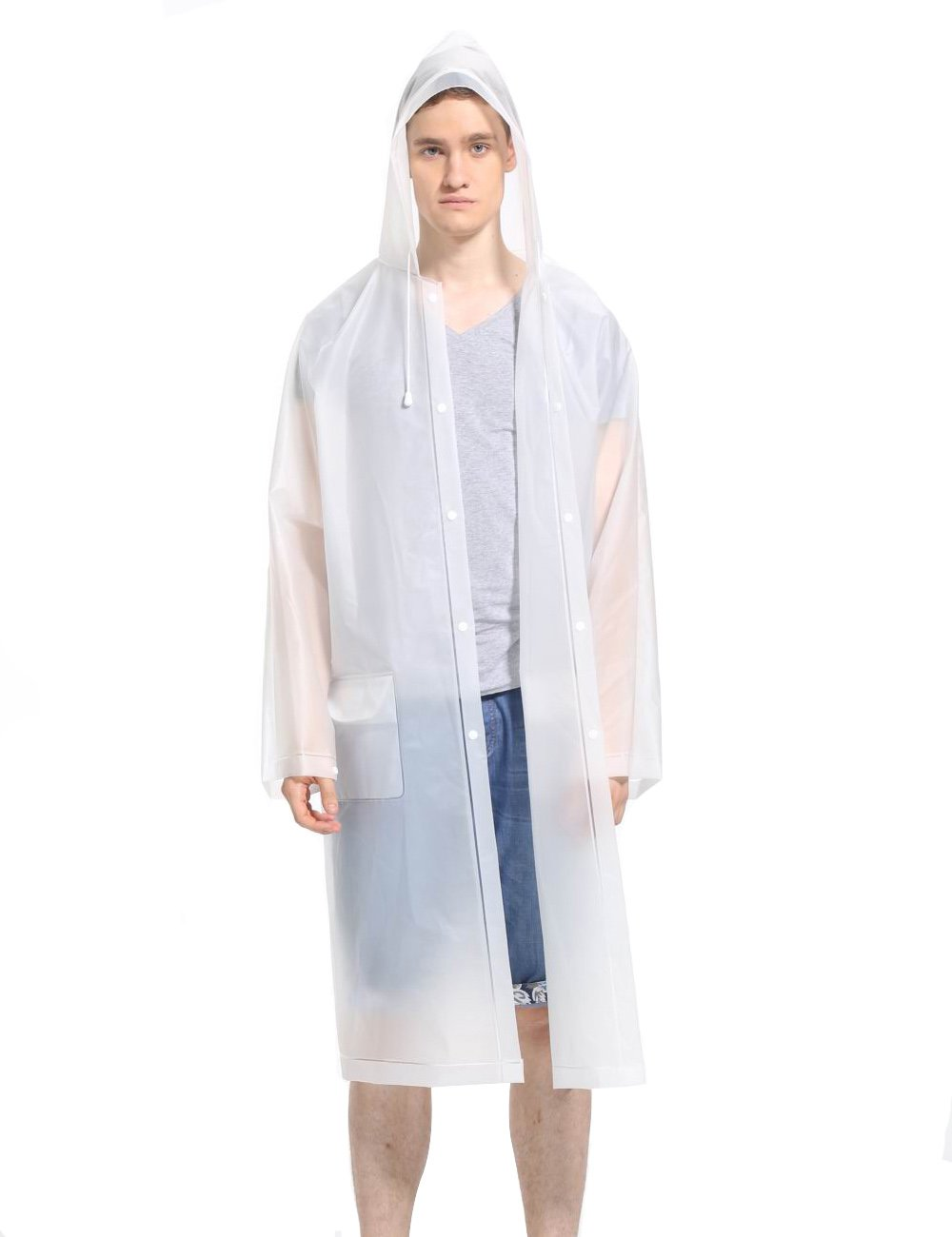 LOHASCASA Adults Men's and Big Boy's Clear Transparent Waterproof Raincoat Packable Lightweight Hooded Breathable Rain Coats Travel White X-Large