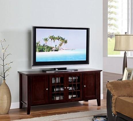 Amazon.com: Dark Cherry Finish Wooden Media Console 55 Inch Flat ...