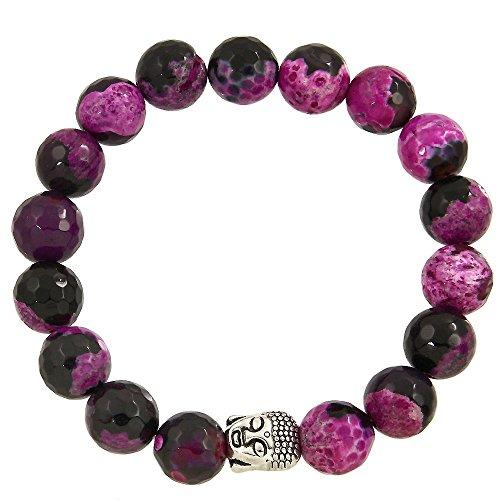 Falari Buddha Energy Natural Stone Stretch Bracelet (Black Mix Fuchsia Agate) B0337-BFA