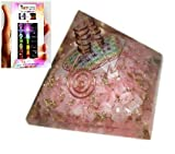 Jet Exquisite A++ Rose Quartz Flower of Life Chakra Orgone Pyramid Reiki Free Booklet Jet International Crystal Therapy Crystal Gemstones Copper Metal Mix Rare Healing Positive