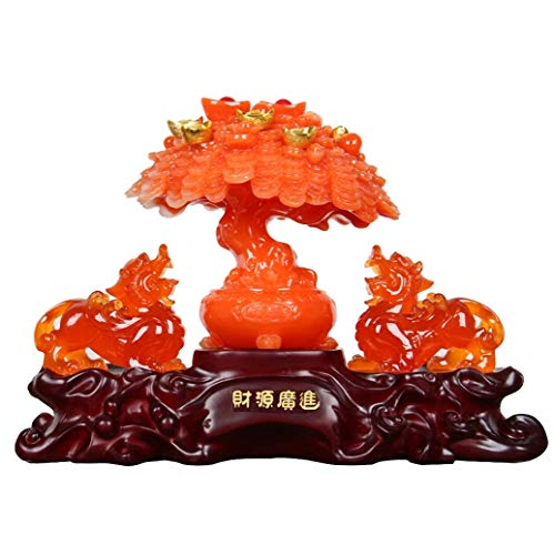 Wenmily Large Size Feng Shui Red Agate Color Money Tree and Pi Yao/Pi Xiu Wealth Porsperity Figurine, Best Housewarming Congratulatory ()