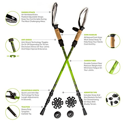 Cloud Ripper Trekking Poles / Walking Sticks - 100 % Carbon Fiber With Anti-shock & Quick Lock Technology - Includes Natural Cork Grips and Air Ventilated Extra Padded Straps (1 Pair) (Green/Black)