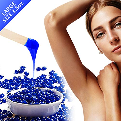 materasu 3.5oz Hard wax beans for painless hair removal,Brazil wax,for face,eyebrows,back,chest,bikini area,legs at home chamomile
