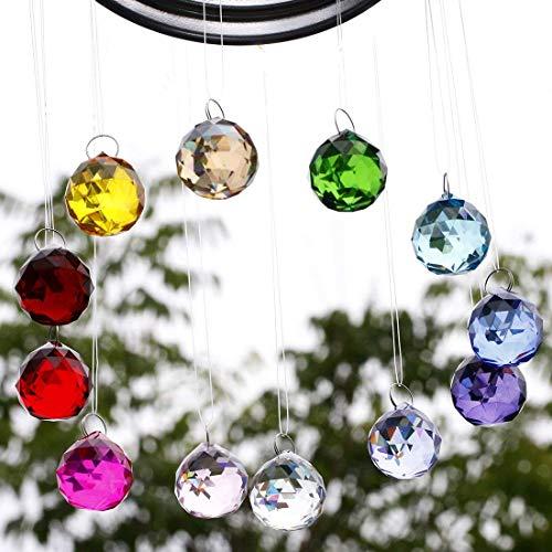 H&D HYALINE & DORA Multi-Color 30mm Chandelier Crystal Ball Prisms Drops Wedding Decorations,Natural Color, Pack of 12