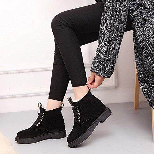 da Black pelle abbigliamento kaki Null in Null donna inverno Scarpe casual Toe HSXZ di Round nero Stivali Stivali Nubuck combattere gHq5n