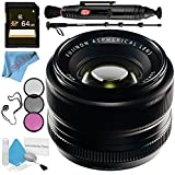 Fujifilm 35mm f/1.4 XF R Lens 16240755 + 52mm 3 Piece Filter Kit + 64GB SDXC Card + Lens Pen Cleaner + Fibercloth + Lens Capkeeper + 70in Monopod + Deluxe Cleaning Kit Bundle