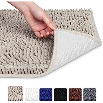 "VDOMUS Soft Microfiber Shag Bath Rug Absorbent Bathroom Mat,32"" x 20""(Beige)"