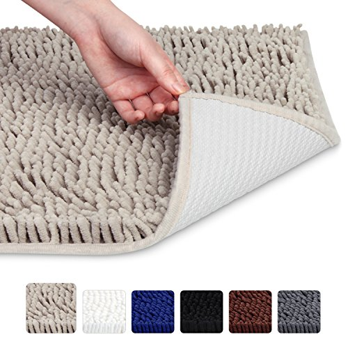 VDOMUS Soft Microfiber Shag Bath Rug, Extra Absorbent and Comfortable, Anti-slip, Machine-Washable...
