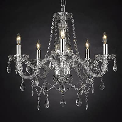 "Crystal Chandelier Lighting , 5 Lights , H19"" X Wd 19"" Ceiling Fixture Pendant Lamp New Chandeliers"