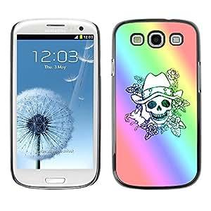FECELL CITY // Duro Aluminio Pegatina PC Caso decorativo Funda Carcasa de Protección para Samsung Galaxy S3 I9300 // Skull Rainbow Luck Gambler