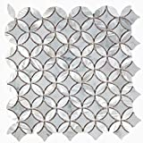 White Carrara with Mother of Pearl Flower Tiles On Mosaic Sheet for Kitchen Backsplashes, Bathroom Walls, Floor Tile, Spas, Pools (5 Sheets)