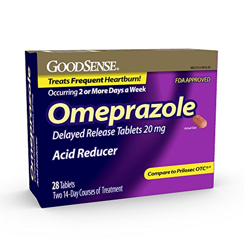 GoodSense Omeprazole Delayed Release Orally Disintegrating Tablets 20 mg, Acid Reducer, Treats Heartburn, 28 Count