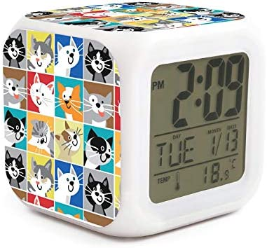 XIANGXIXI0 Colorful Cat Cute Night Light Alarm Clock for Child Digital Alarm Clock with Rechargeable Battery Desk Children s Alarm Clock Indoor Thermometer