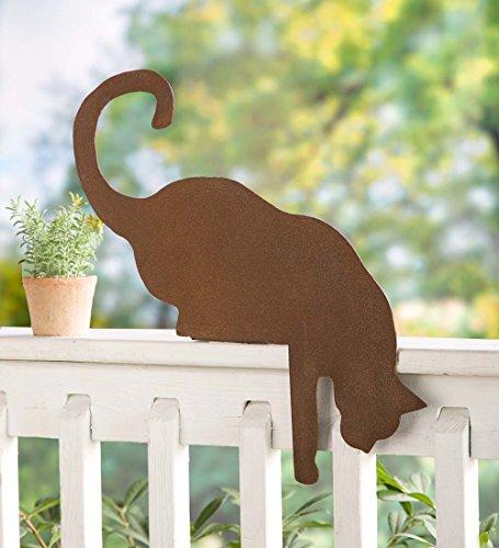 Welded Steel Sculpture - Weather-Durable Hand Welded Cat Metal Sculpture Fence Topper