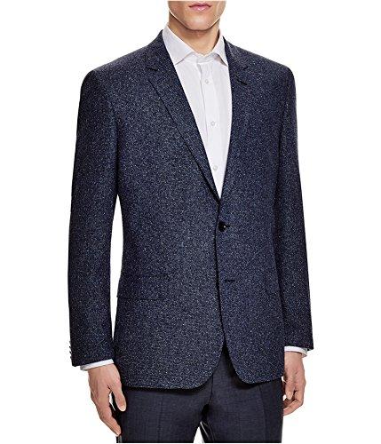 Hugo Boss Mens Textured Slim Fit Two Button Blazer Jacket Blue ()