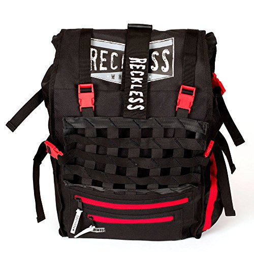 (Reckless Skate Backpack - Black Skate Bag with Red and White Accents - New for 2017)