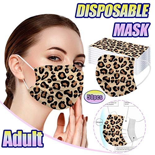 50PCS Adult Colorful Face_ Masks, 3 Leopard Dragonfly Printed Design Face_ Masks with Elastic Earloop,Back to School Supplies (5Patterns mix leopard-adult)