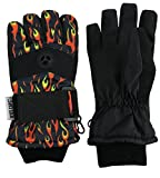 N'Ice Caps Kids Cold Weather Waterproof Camo Print Thinsulate Ski Gloves (Burning Flames, 6-8 Years)