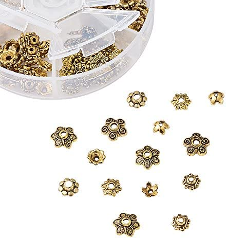 Pandahall 1Box//180pcs Tibetan Style Alloy Flower Petal Bead Caps Beads Spacers