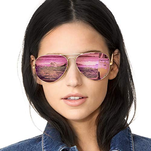 SODQW Aviator Sunglasses Mirrored for Women Polarized with Large Metal Frame - UV 400 Protection(Matte Gold Frame/Pink Mirror Lens) ()