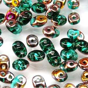 Czech SuperDuo Two-Hole Seed Crystal Beads 5.5x2.5mm Emerald Sliperit 22gram (Superduo Beads Emerald)