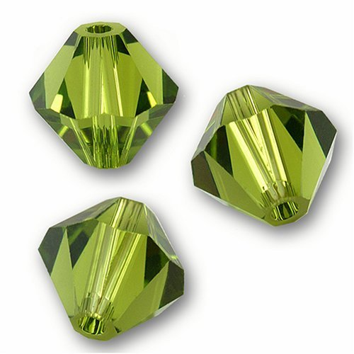 4 mm.Swarovski Crystal Beads Bicone 5301/5328.Olivine. (48 pcs)