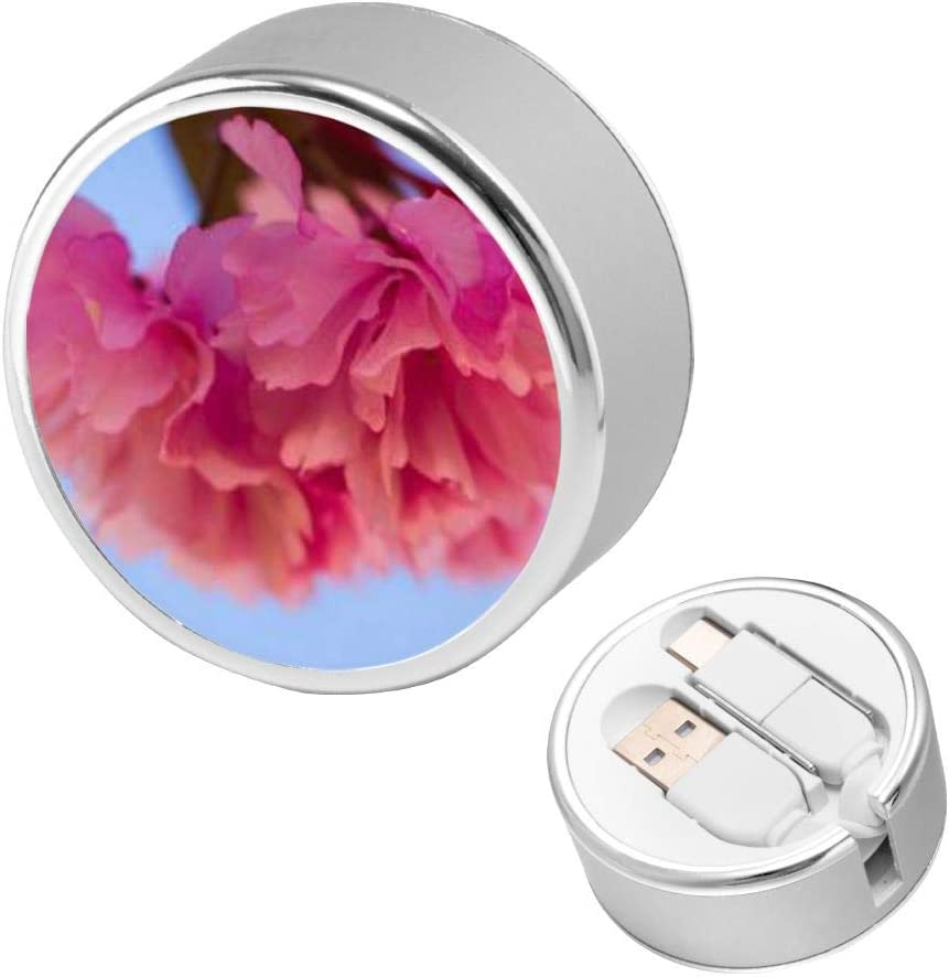 Round USB Data Cable Charging Cable Can Be Charged and Data Transmission Synchronous Fast Charging Cable-Pink Flowers Blooming in The Garden