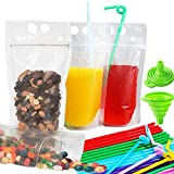 Drink Pouches Smoothies Bag,Double Layer Leak-Proof Drink Container with 100 Straws & 1 Funnel,Stand up Disposable Drink Bag for Smoothies, Juice,Travel,Party,Non-Toxic,BPA Free