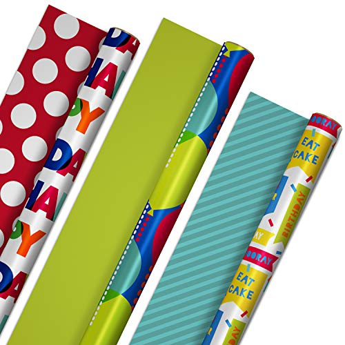Hallmark Reversible Birthday Wrapping Paper Bundle (3-Pack: 75 sq. ft. ttl.) Balloons, Bright Green, Teal Stripes, White…