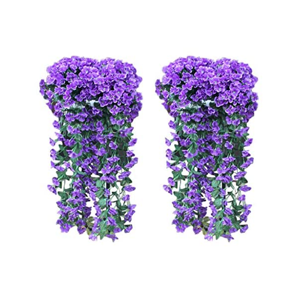 2pcs Artificial Violet Ivy Flowers,DIY Hanging Flowers Wedding Decor,Wall Silk String Floral Wisteria Basket Garland Vine Flowers Home Hotel Office Party Garden Craft Art Decor (Blue, 2pcs)