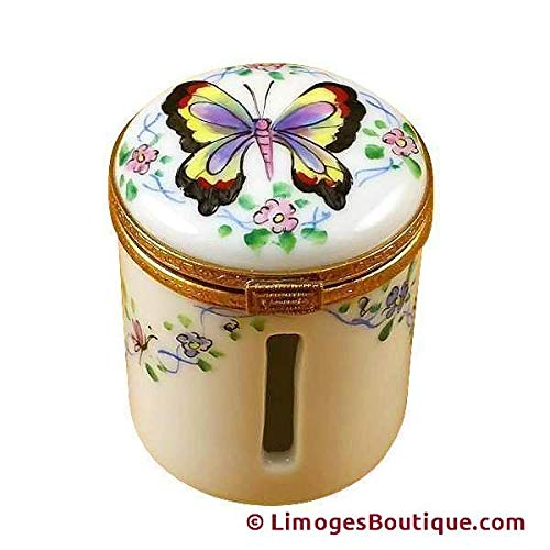 BUTTERFLY STAMP HOLDER - LIMOGES BOX AUTHENTIC PORCELAIN FIGURINE FROM -