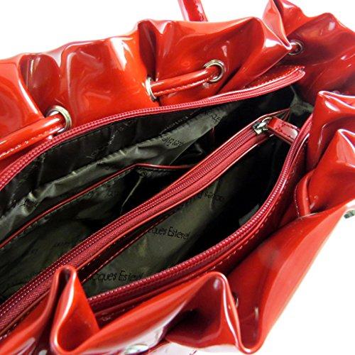 Bolsa de cuero 'Jacques Esterel'pulimento rojo - 37x26x14 cm.