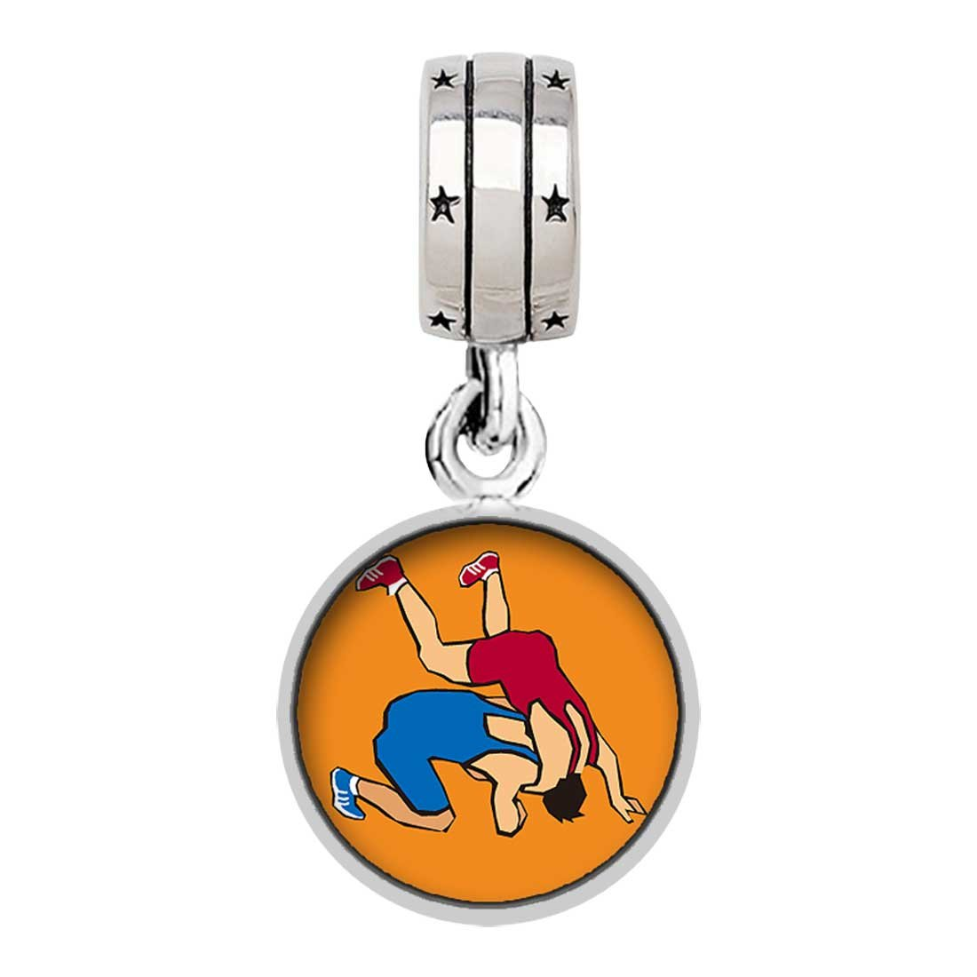 Olympics Wrestling posture Photo ''With God All Things Are Possible'' Religious Dangle Charm Bracelets