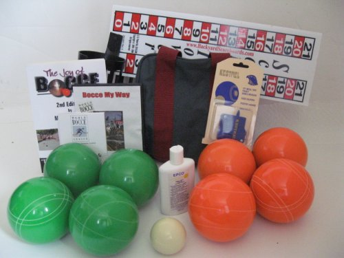 Everything Bocce Package - 110mm Epco Green and Orange Balls, Score Tower, Hi... by Epco