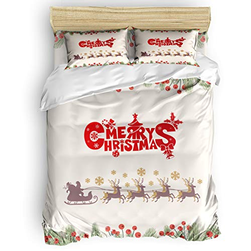 OUR WINGS Bedding Duvet Cover Set Full Size Christmas Fruit and Sleigh Pattern Luxury Soft 4 Piece Bedding Set,1 Duvet Cover and 2 Pillow Shams Bed Cover ()