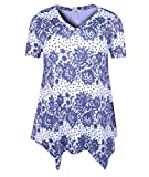 ZERDOCEAN Women Plus Size Printed Short Sleeves Tunic Tops Flowy T Shirt Style-109 2X