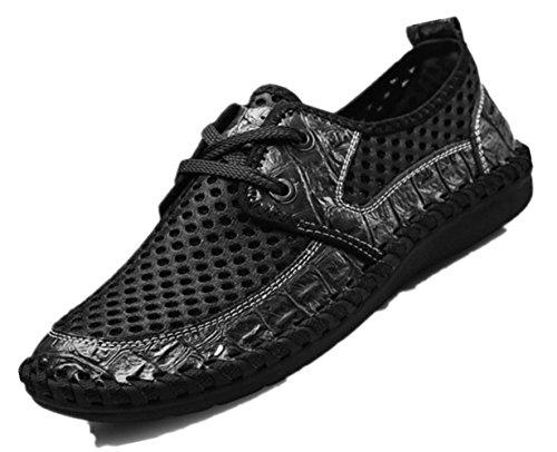 uomo scarpe moda slip scarpe on Leather vera Bebete5858 da estate confortevole pelle uomo in morbido scarpe marchio casual mesh traspirante estive Nero Ww7nTq67