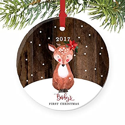 Amazon Com Christmas Tree Ornaments Baby S First Baby Deer Fawn