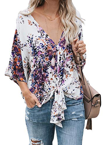Asvivid Womens Summer V-Neck Floral Printed Flared Bell Sleeve Blouses Self Tie Knot Ladies Holiday Tunic Tops Shirt M Purple ()