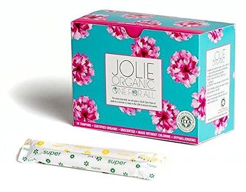 JOLIE ORGANIC Tampons with Applicator - 18 Total- 9 Regular, 9 Super - Pink & Turquoise Box… - 9 Applicators