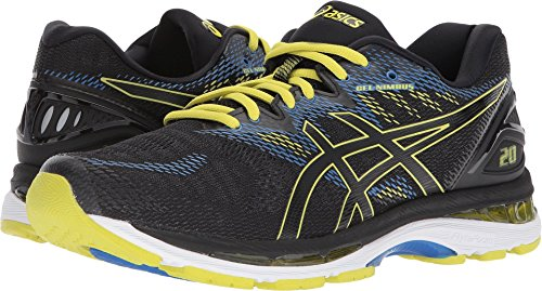 ASICS Men's Gel-Nimbus 20 Running Shoe, Black/Sulphur/Blue, 10.5 M US