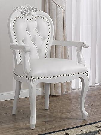 Poltrona sedia con braccioli stile Barocco Moderno bianco laccato ...