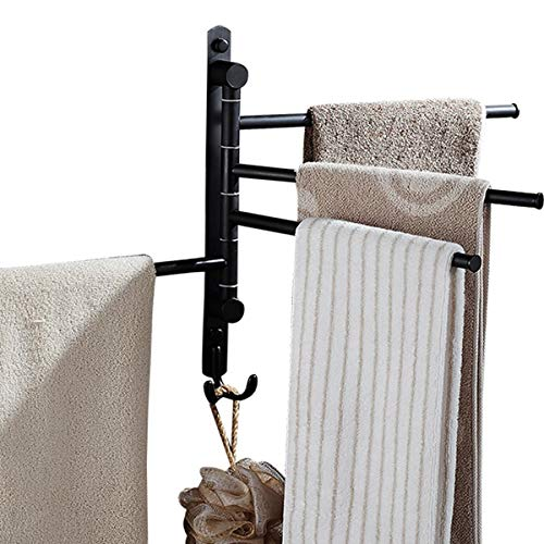 CBTONE Swing Arm Towel Bar, Wall Mounted Oil Rubbed Bronze Swivel Towel Rack for Bathroom with 4 Arms and 2 Hooks, Black